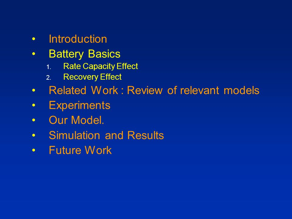 Related Work : Review of relevant models Experiments Our Model.
