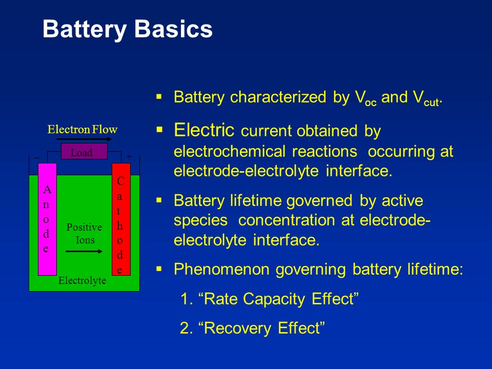 Battery Basics Battery characterized by Voc and Vcut.