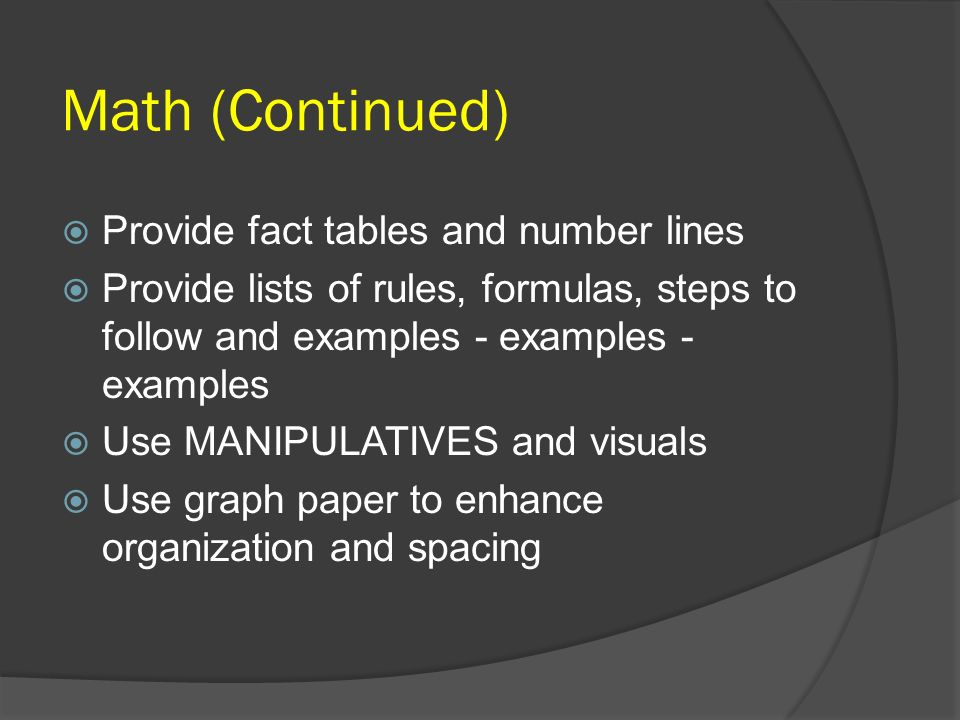 Math (Continued) Provide fact tables and number lines