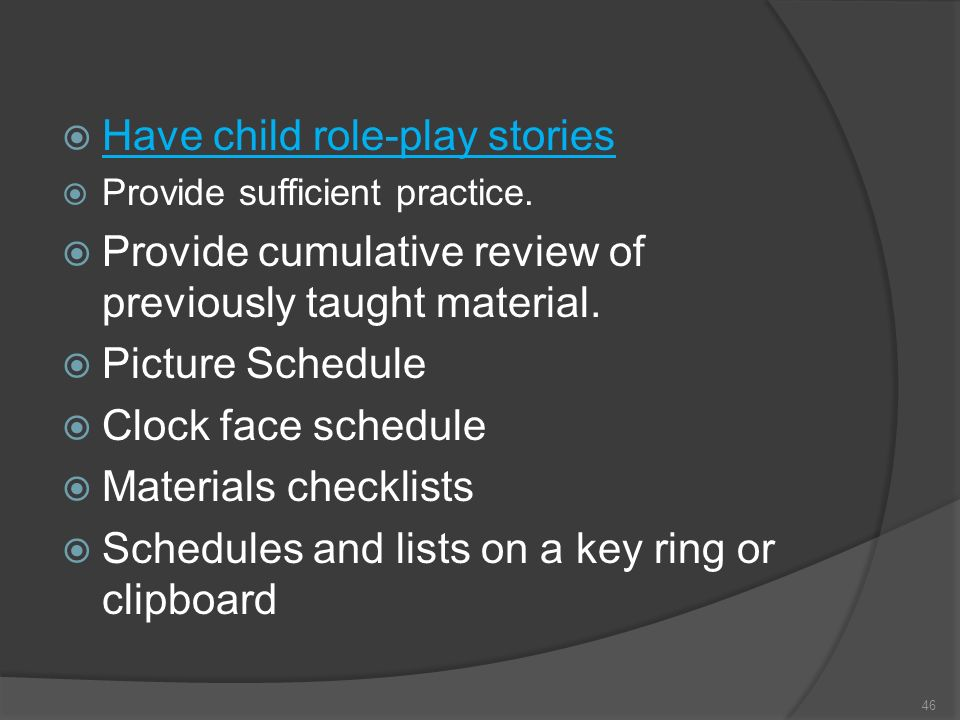 Have child role-play stories