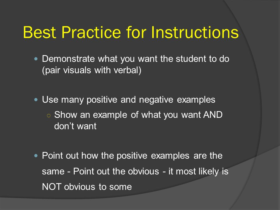 Best Practice for Instructions
