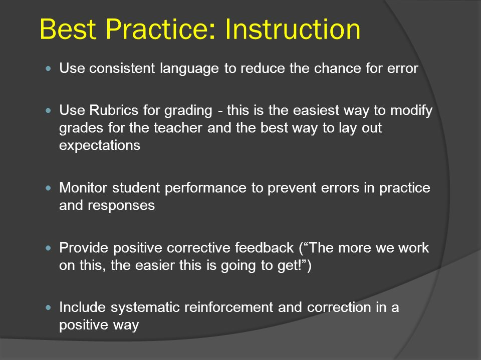 Best Practice: Instruction