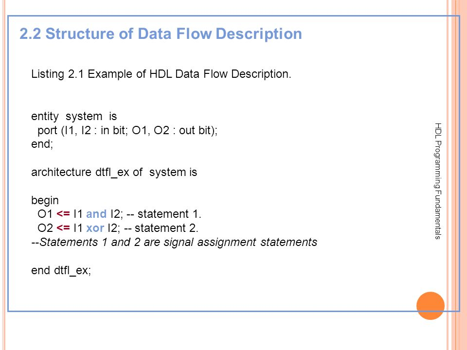 2.2 Structure of Data Flow Description