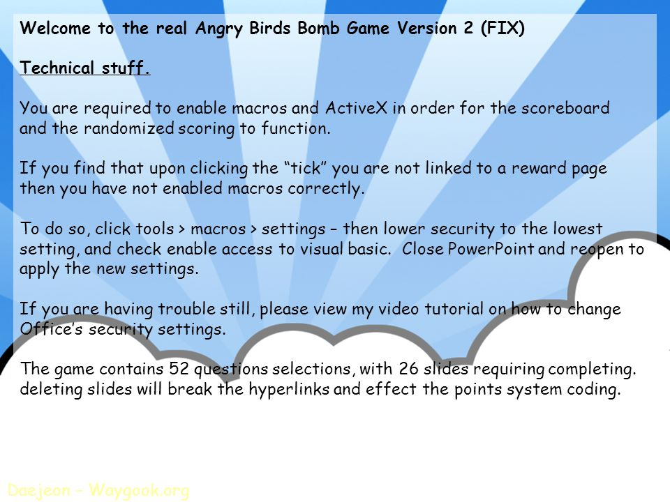 Welcome to the real Angry Birds Bomb Game Version 2 (FIX)