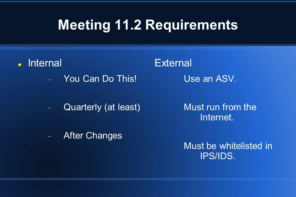 Meeting 11.2 Requirements Internal External You Can Do This!