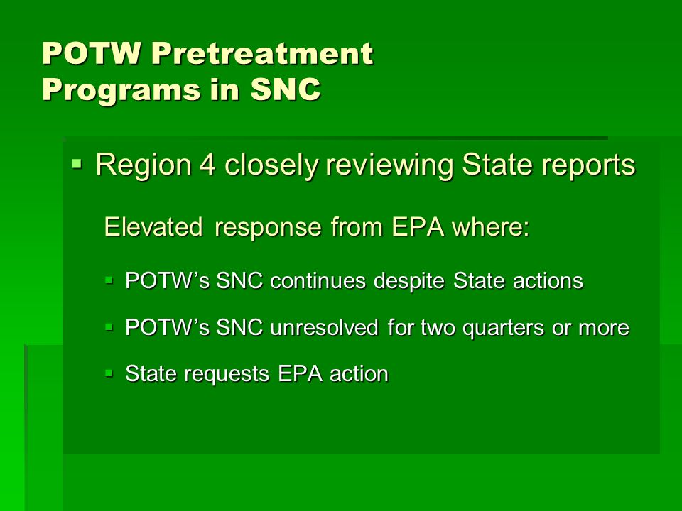 POTW Pretreatment Programs in SNC