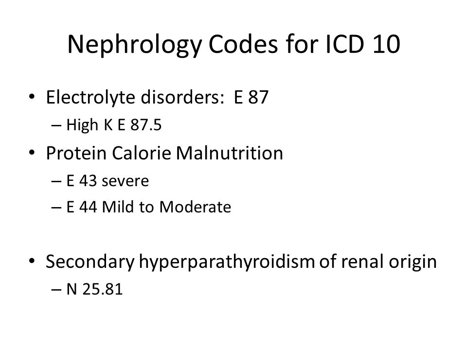 Nephrology Codes for ICD 10