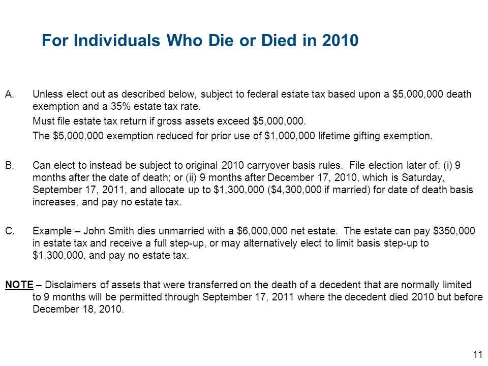 For Individuals Who Die or Died in 2010