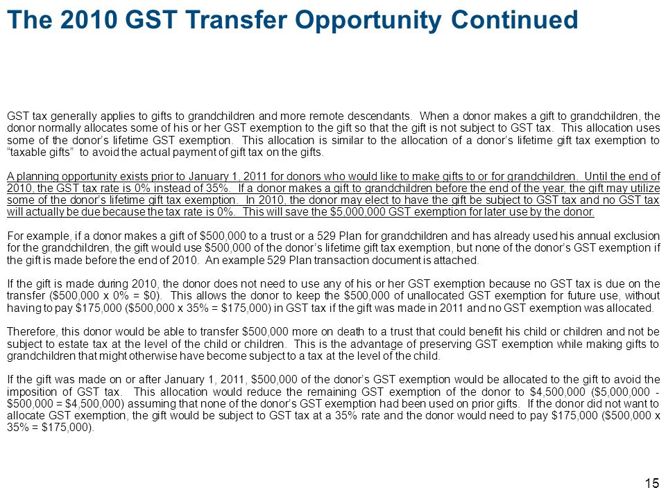 The 2010 GST Transfer Opportunity Continued