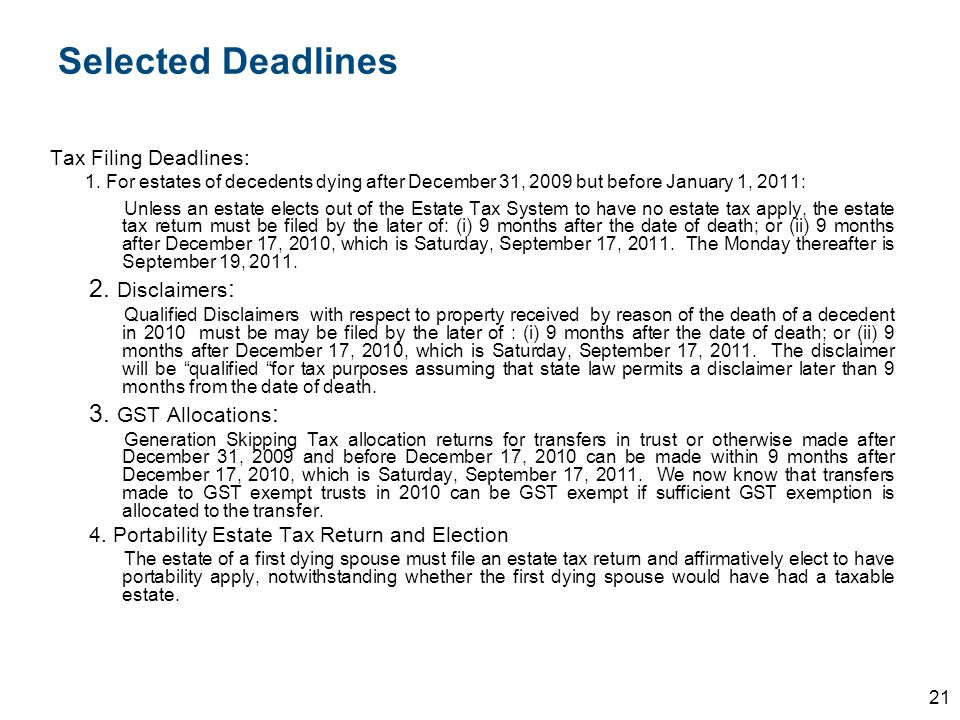 Selected Deadlines 2. Disclaimers: 3. GST Allocations: