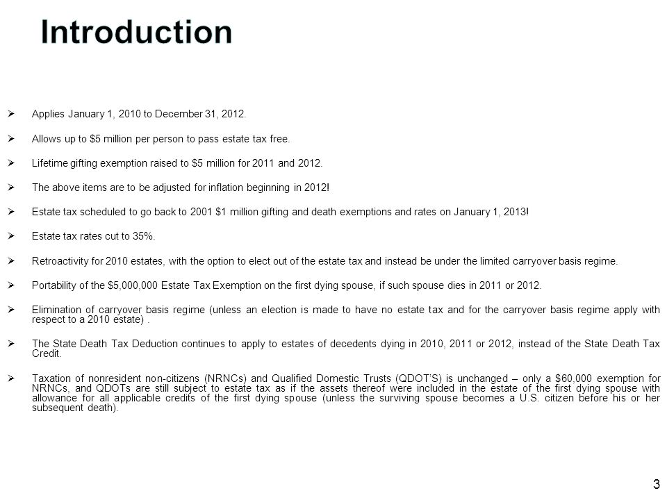 Introduction Applies January 1, 2010 to December 31, 2012.