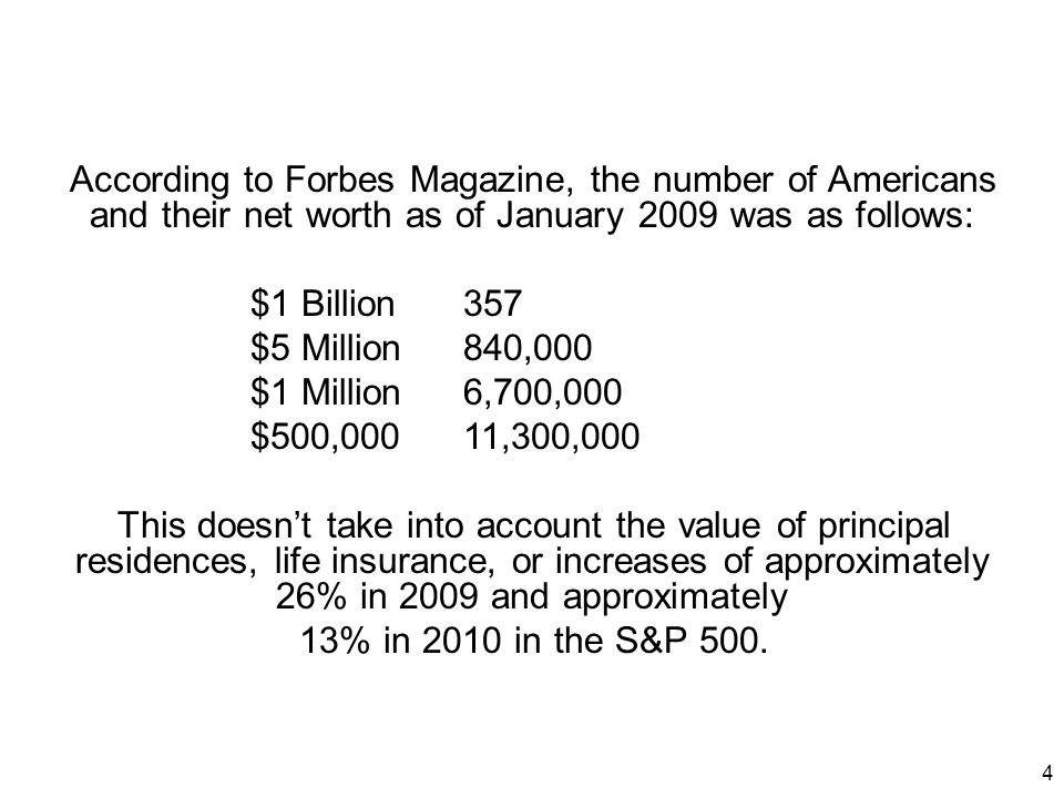 According to Forbes Magazine, the number of Americans and their net worth as of January 2009 was as follows: