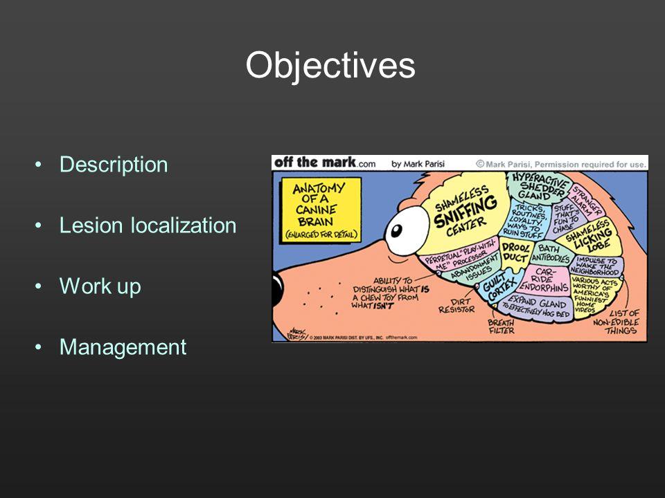 Objectives Description Lesion localization Work up Management