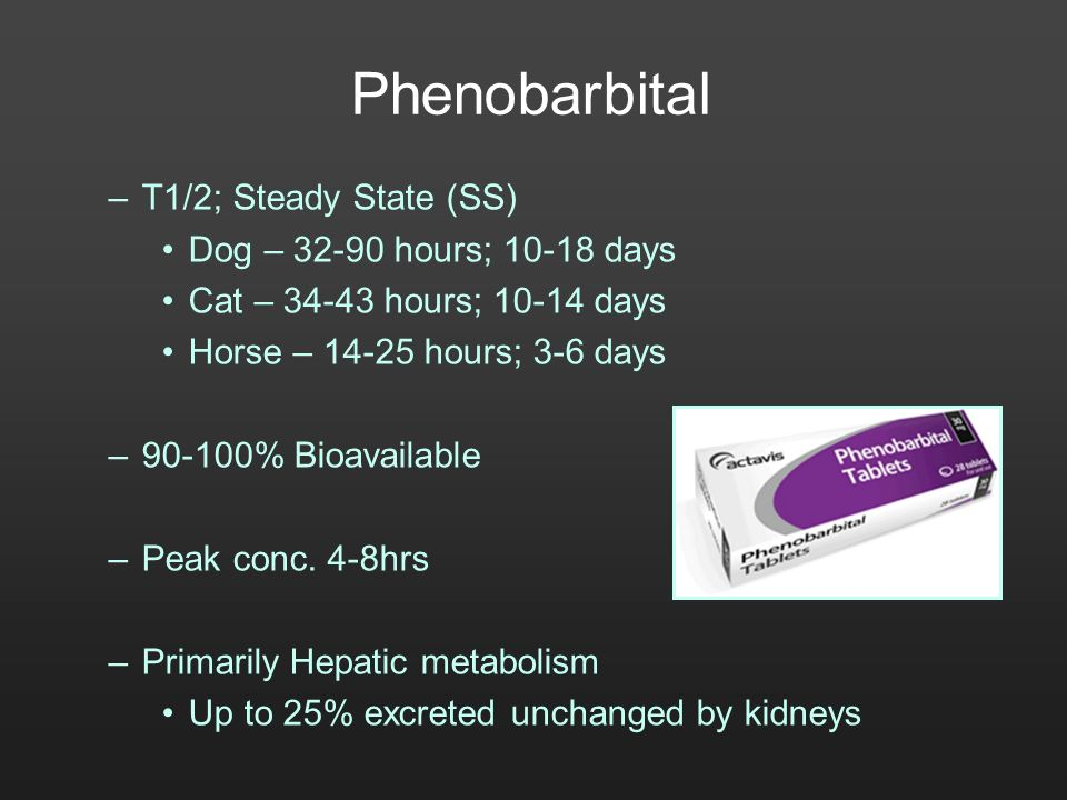 Phenobarbital T1/2; Steady State (SS) Dog – 32-90 hours; 10-18 days
