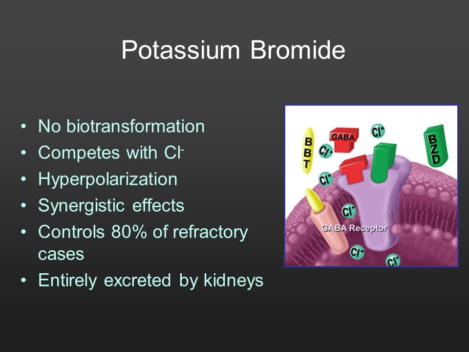 Potassium Bromide No biotransformation Competes with Cl-