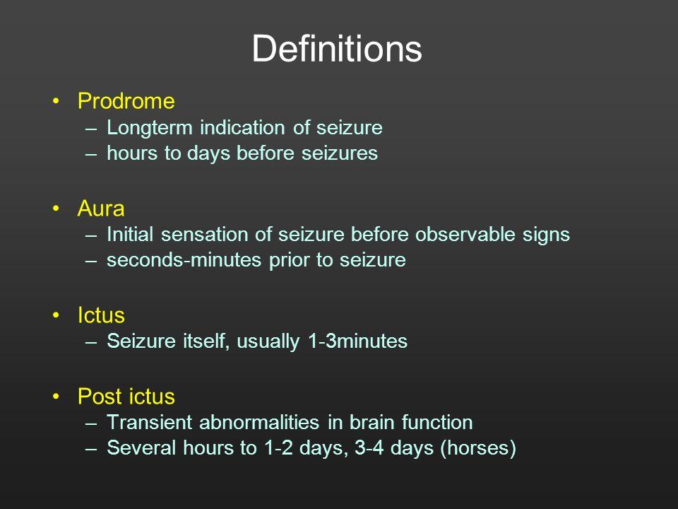 Definitions Prodrome Aura Ictus Post ictus