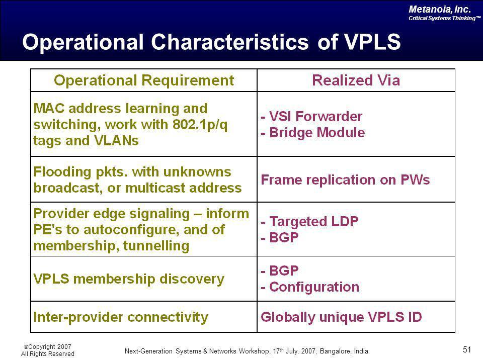 Operational Characteristics of VPLS
