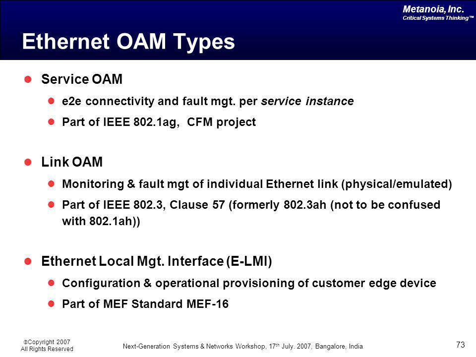 Ethernet OAM Types Service OAM Link OAM
