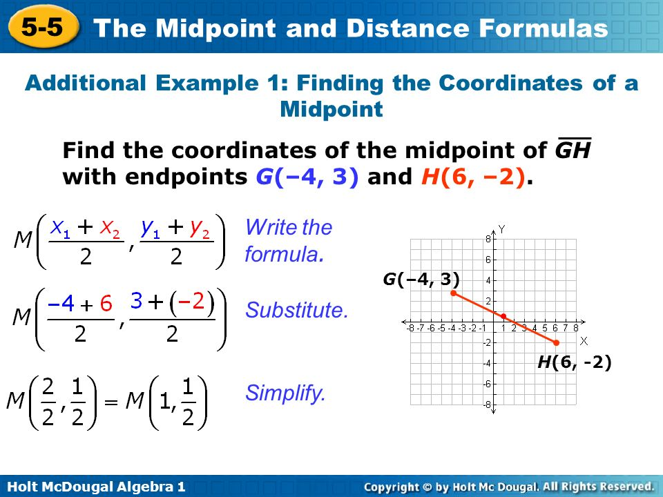 Additional Example 1: Finding the Coordinates of a Midpoint