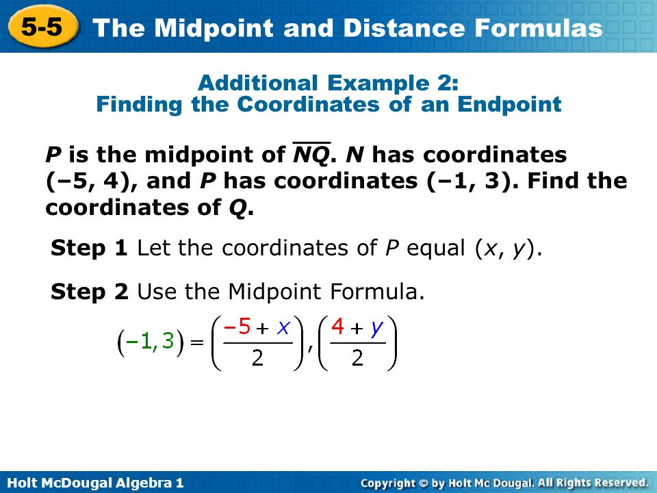 Additional Example 2: Finding the Coordinates of an Endpoint
