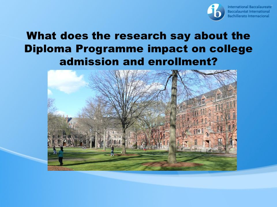 What does the research say about the Diploma Programme impact on college admission and enrollment