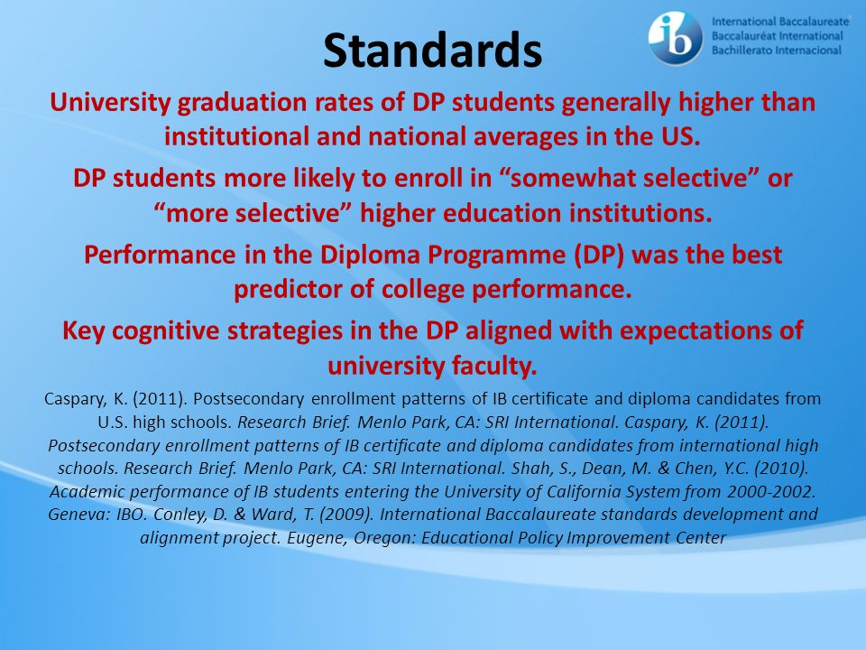 Standards University graduation rates of DP students generally higher than institutional and national averages in the US.