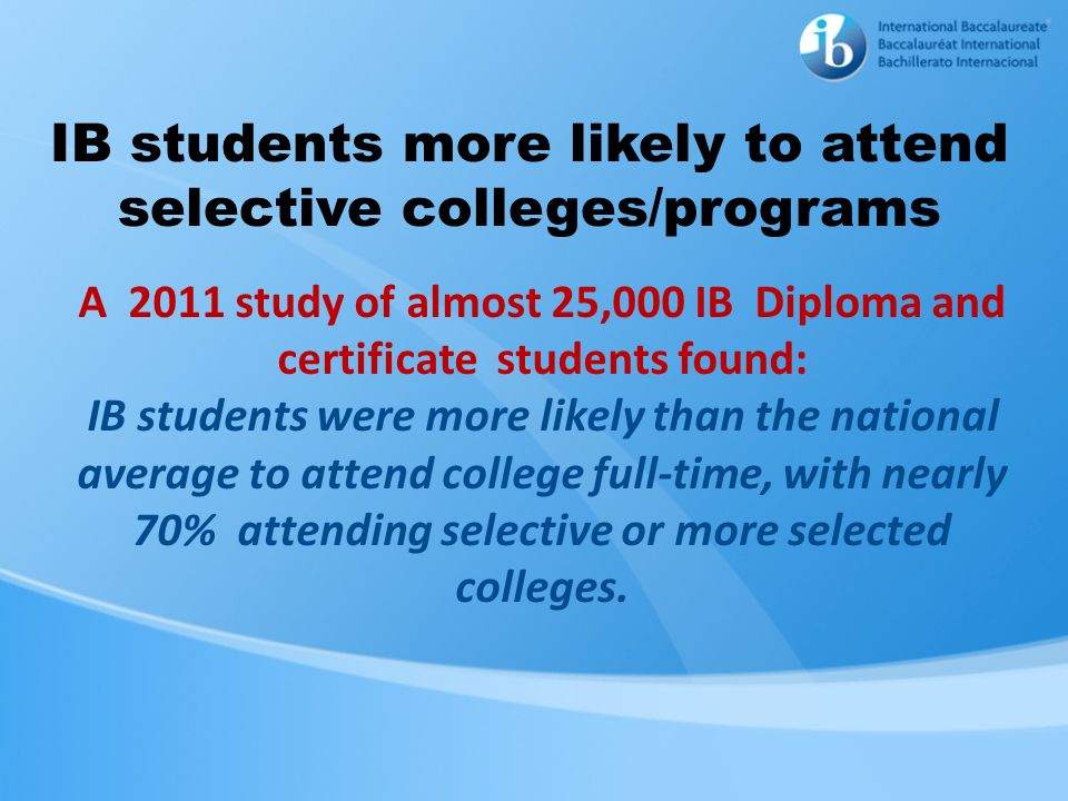IB students more likely to attend selective colleges/programs