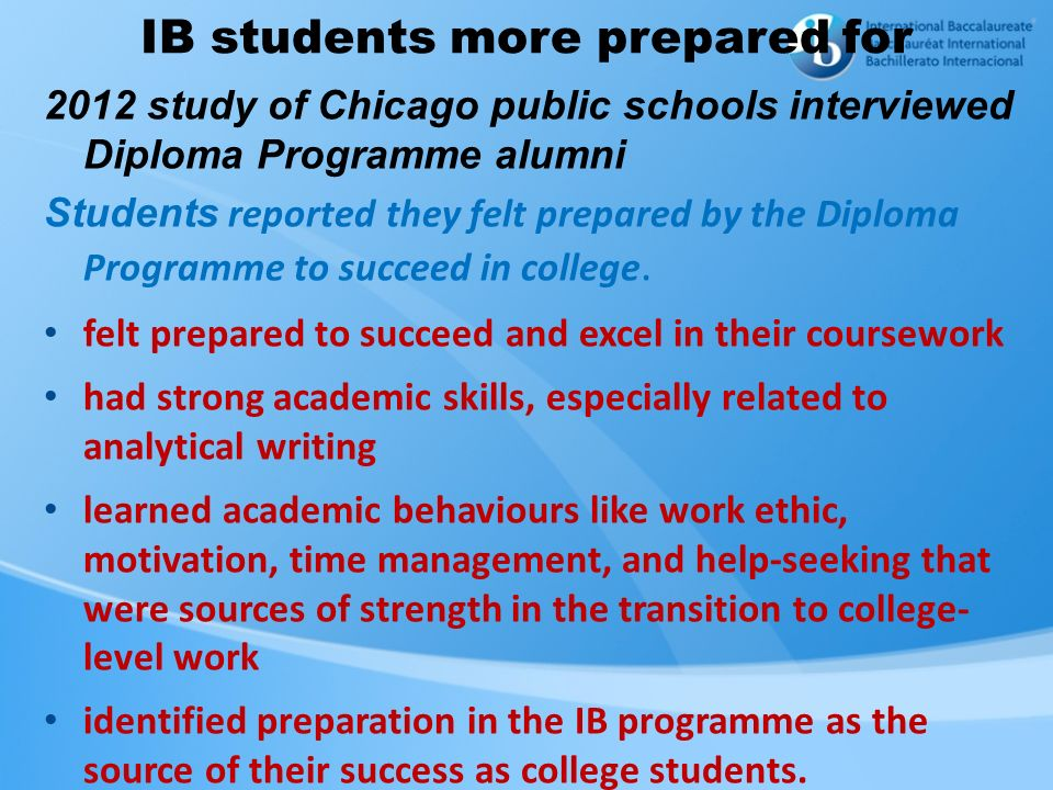 IB students more prepared for