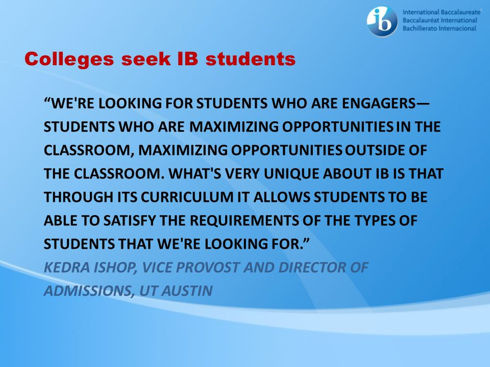 Colleges seek IB students