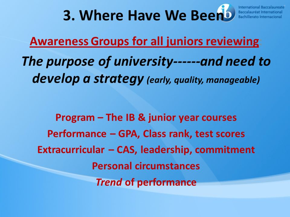 3. Where Have We Been Awareness Groups for all juniors reviewing: