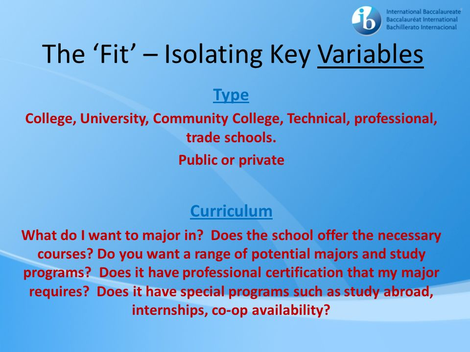 The 'Fit' – Isolating Key Variables