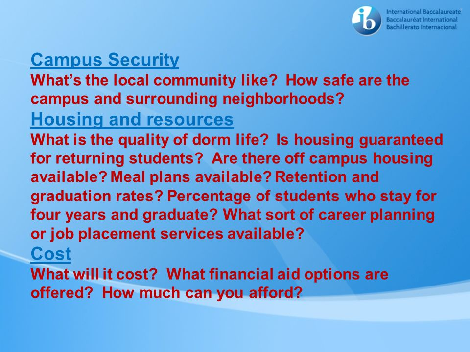 Campus Security Housing and resources Cost