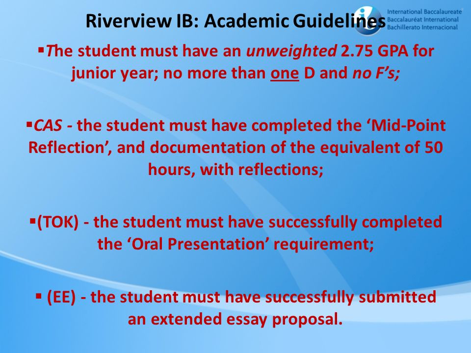 Riverview IB: Academic Guidelines