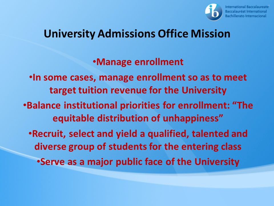 University Admissions Office Mission