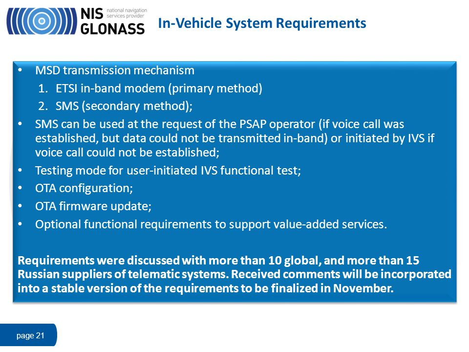 In-Vehicle System Requirements