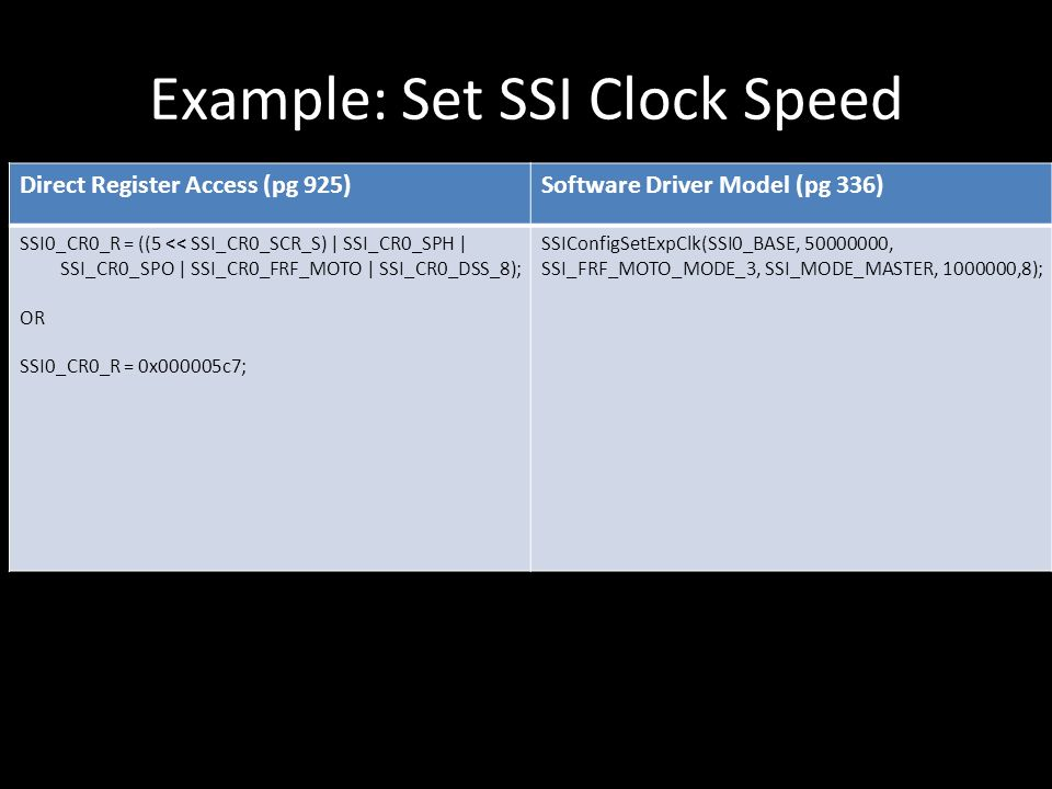 Example: Set SSI Clock Speed