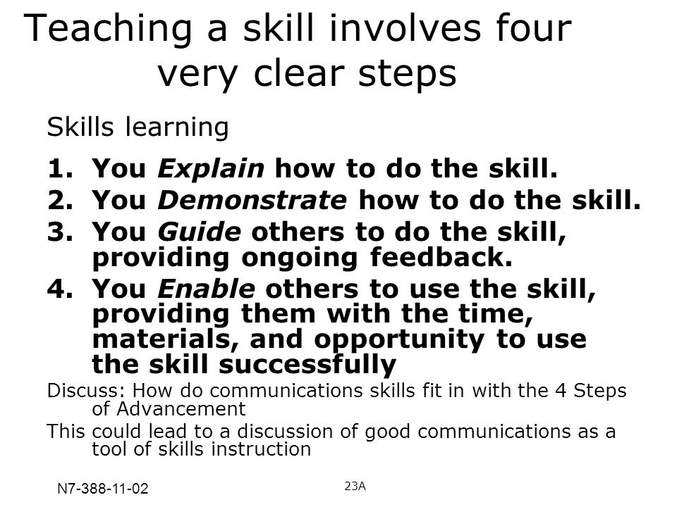 Teaching a skill involves four very clear steps