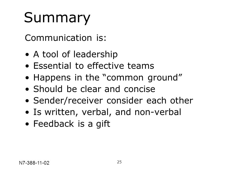 Summary Communication is: A tool of leadership