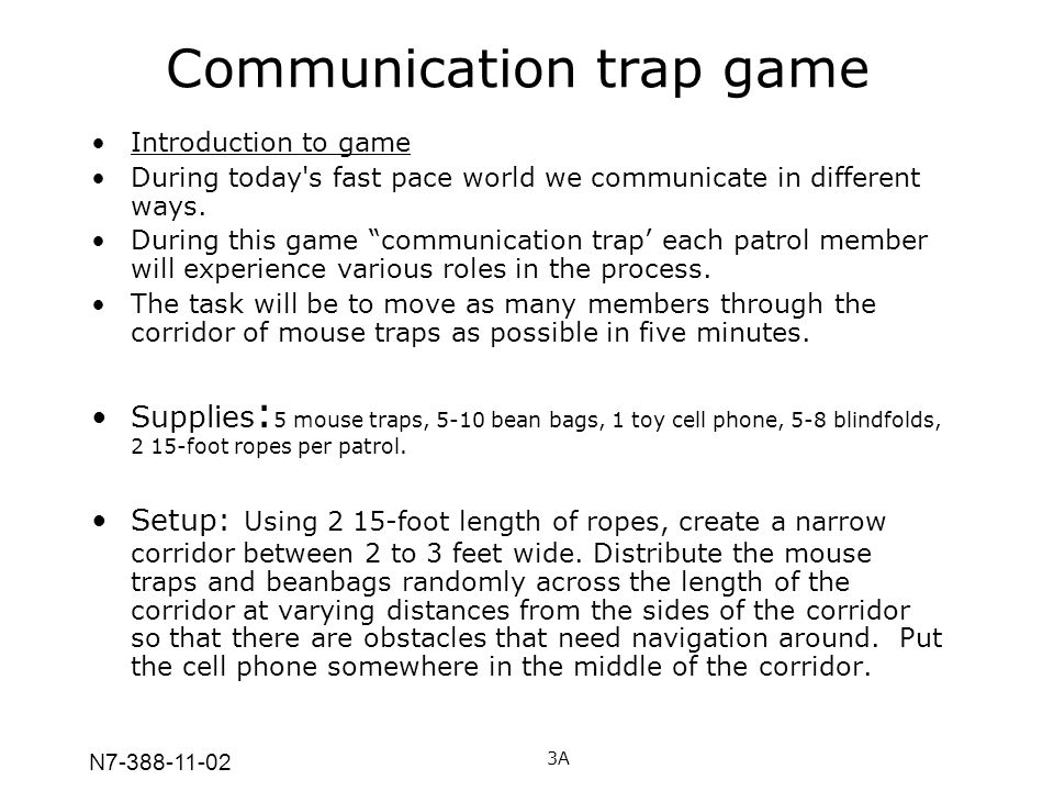 Communication trap game