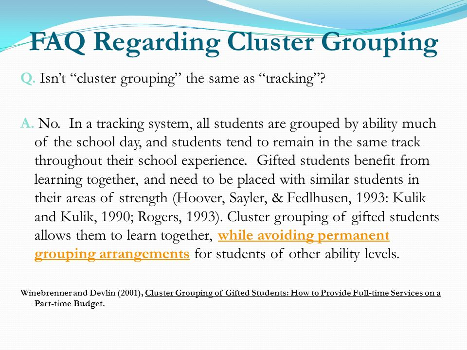 FAQ Regarding Cluster Grouping