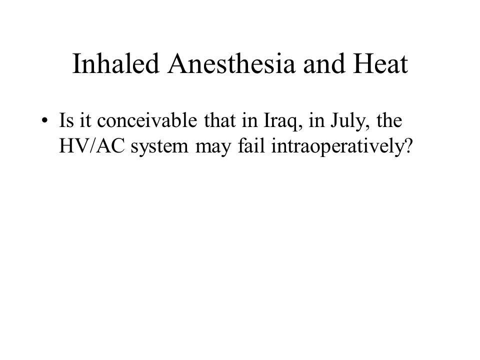 Inhaled Anesthesia and Heat