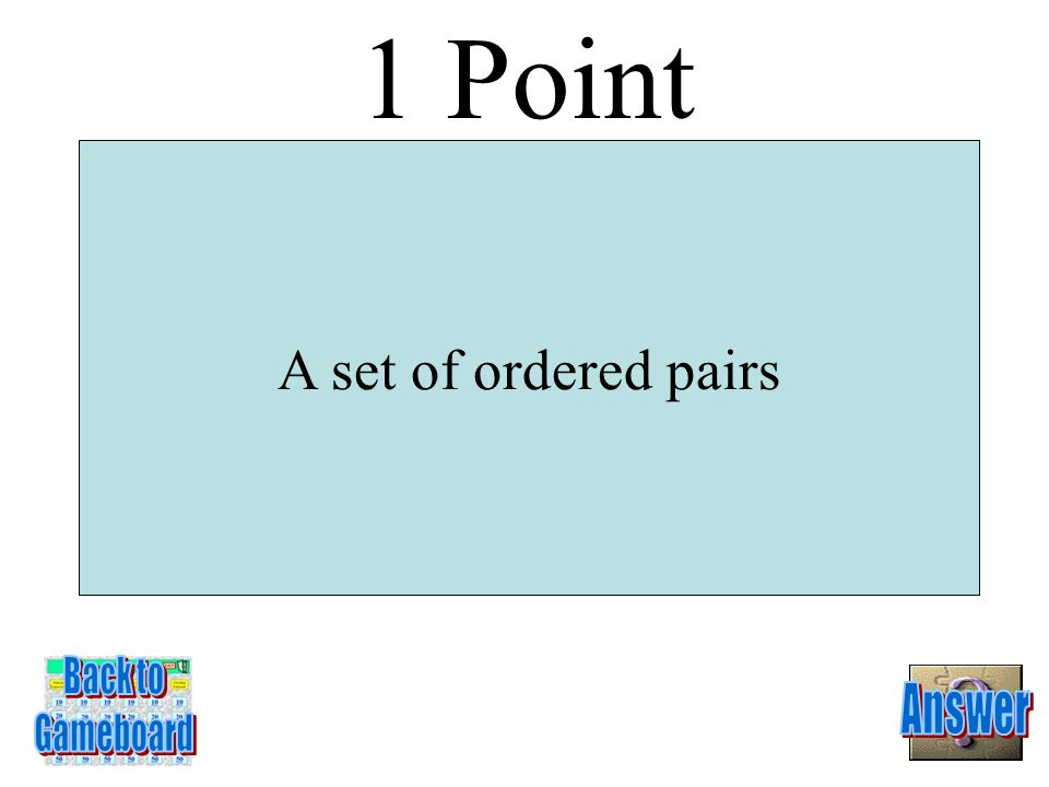 1 Point A set of ordered pairs Back to Answer Gameboard 1-1Q