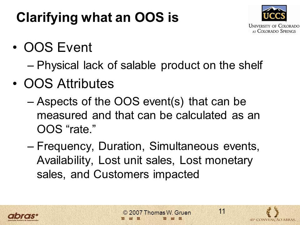 Clarifying what an OOS is
