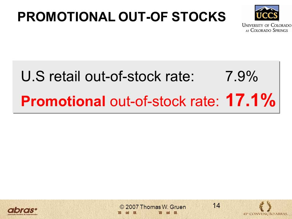 PROMOTIONAL OUT-OF STOCKS