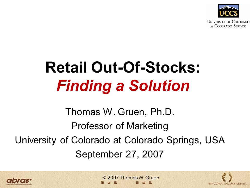 Retail Out-Of-Stocks: Finding a Solution