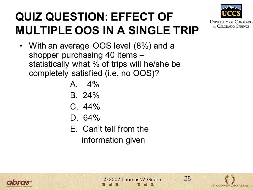 QUIZ QUESTION: EFFECT OF MULTIPLE OOS IN A SINGLE TRIP
