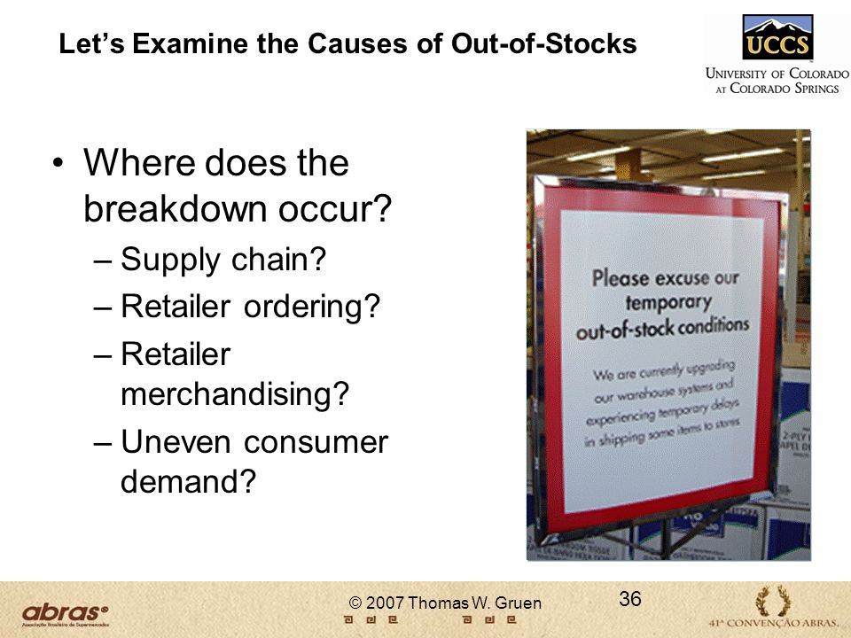 Let's Examine the Causes of Out-of-Stocks