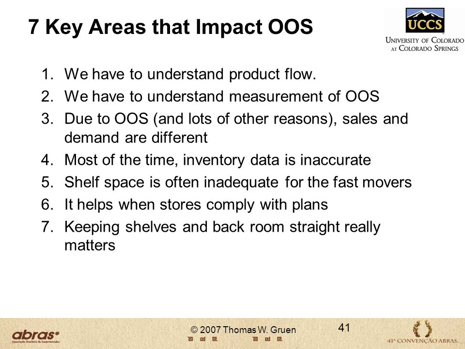 7 Key Areas that Impact OOS