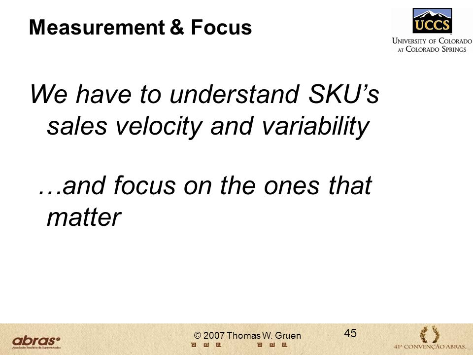 We have to understand SKU's sales velocity and variability