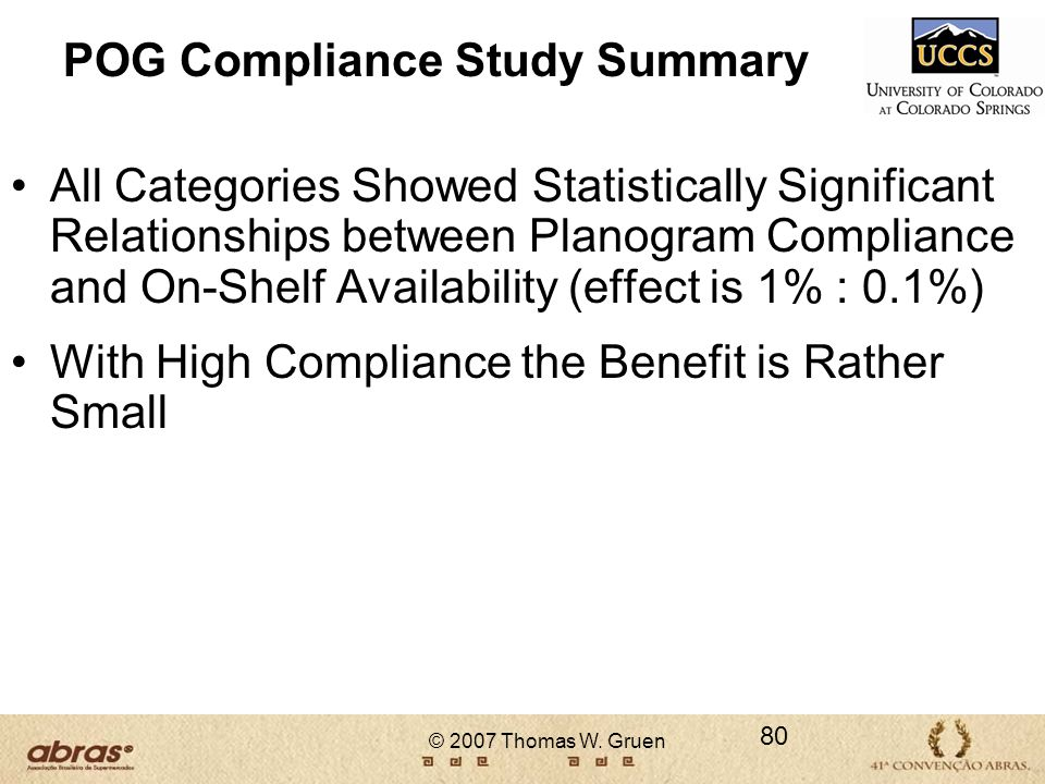 POG Compliance Study Summary